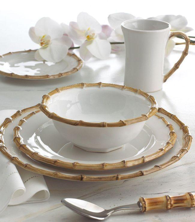 Белоснежный столовый сервиз с имитацией отделки бамбуком