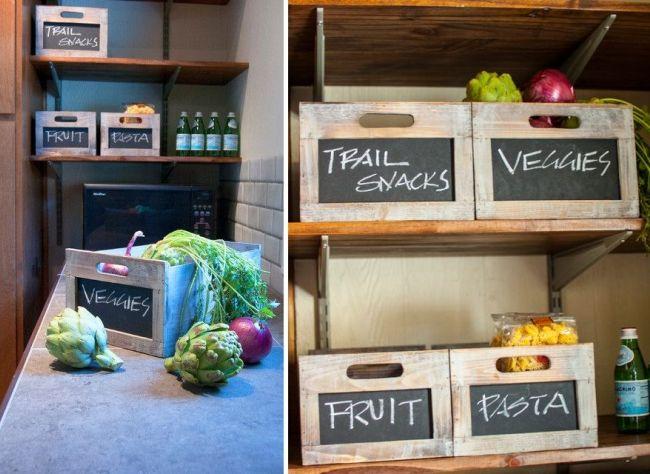 Деревянные ящики на кухне - для хранения овощей и других продуктов
