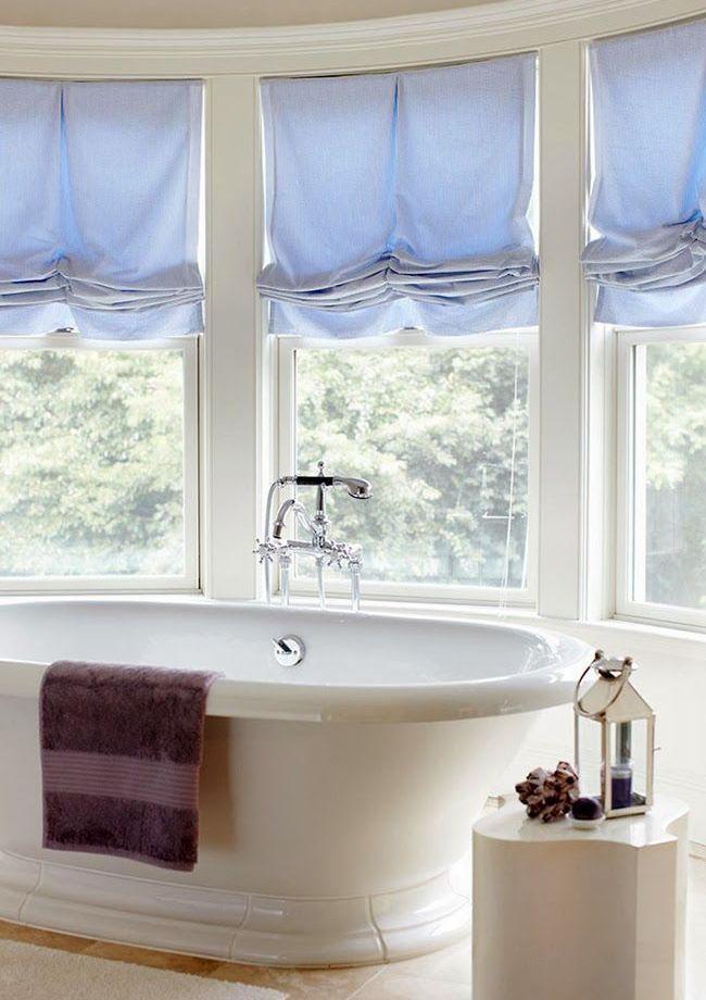 Хлопковые австрийские шторы в ванной