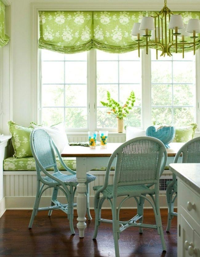 Яркий зеленый цвет штор наполнит комнату весенним настроением