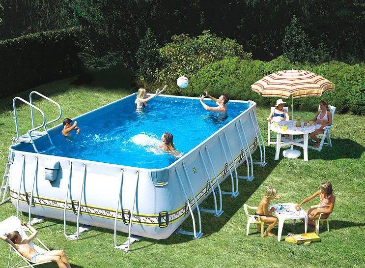 Прямоугольный каркасный бассейн с подпорками