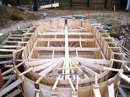 Рис. 5. Опалубка для вертикальных стен бассейна