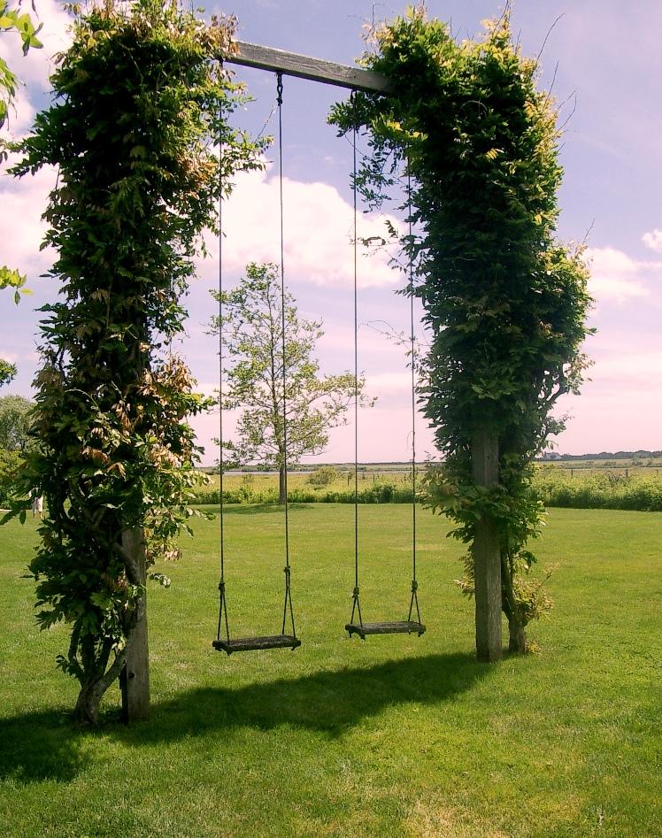 П-образные детские уличные качели с зелеными насаждениями у вертикальных стоек обеспечат тень и эстетическое оформление для этой простой конструкции