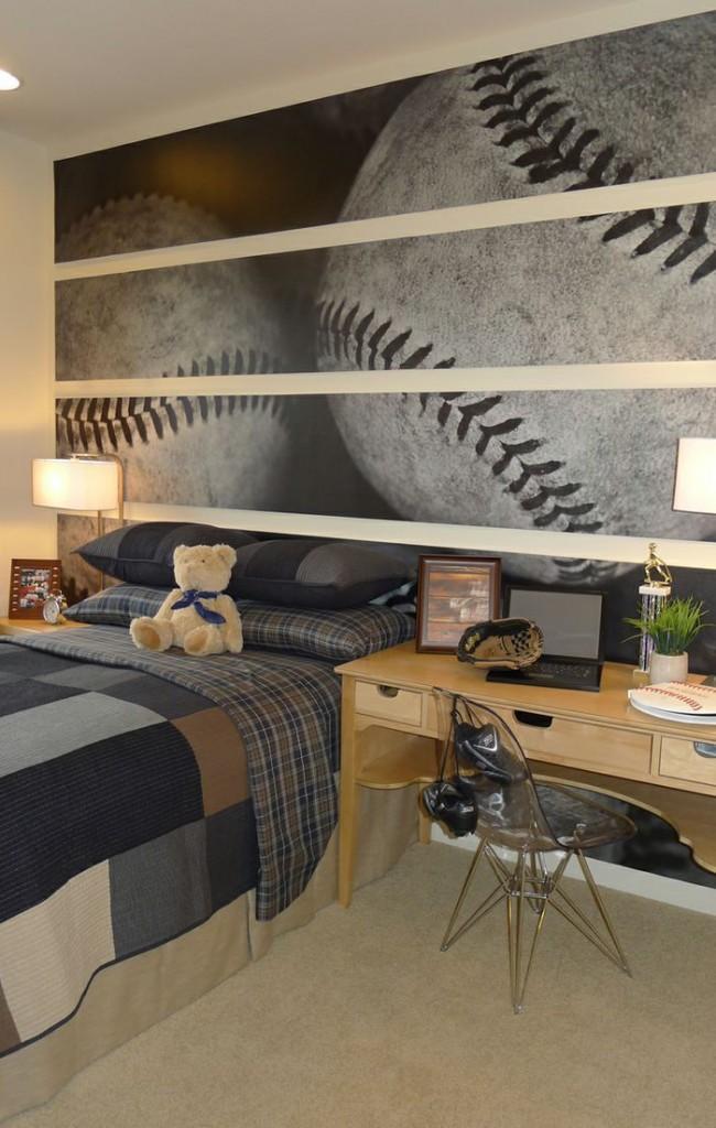 Фотообои в спальне юного любителя бейсбола