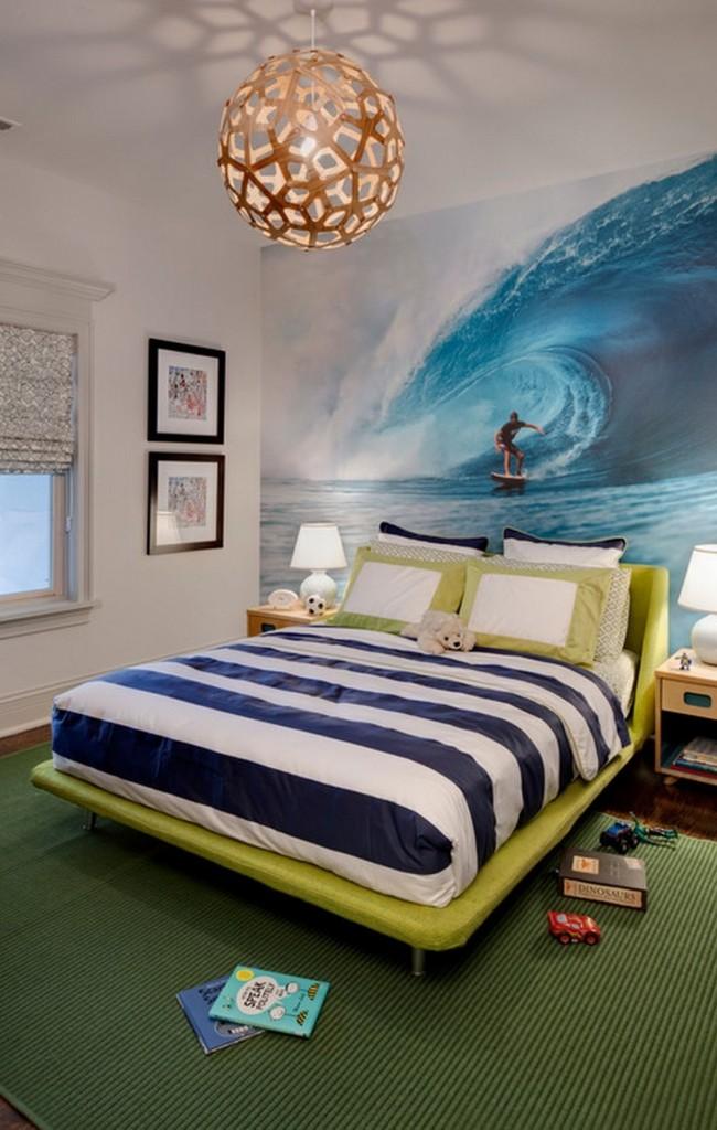 Фотообои с серфером для будущего покорителя волн, который мечтает о волнах