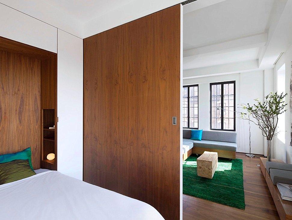 раздвижные перегородки для зонирования пространства в комнате 47