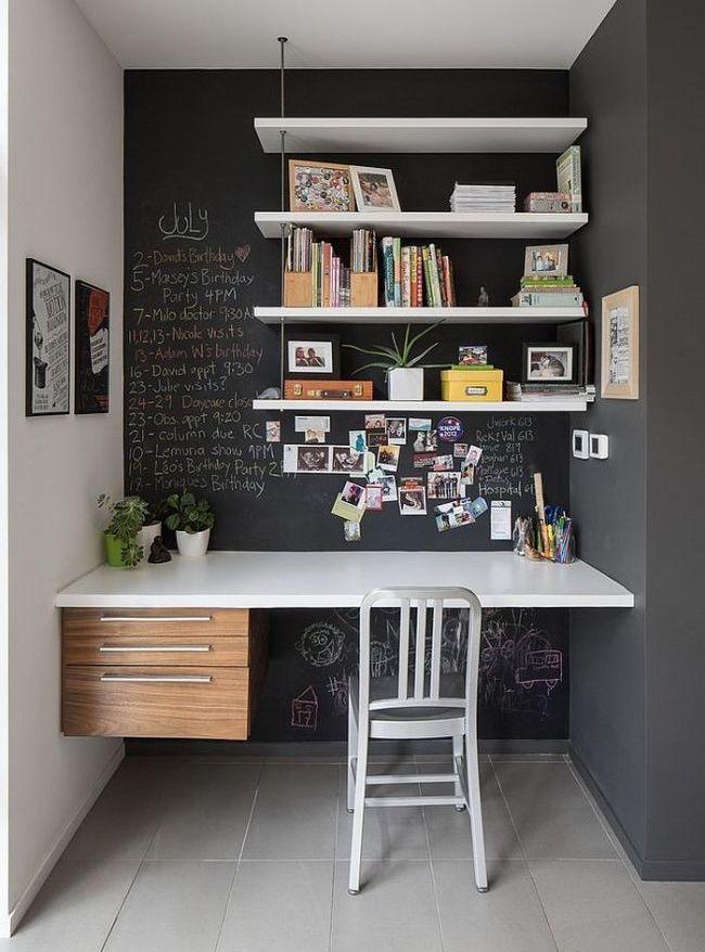 Полочки и письменный стол выполнены в одном стиле