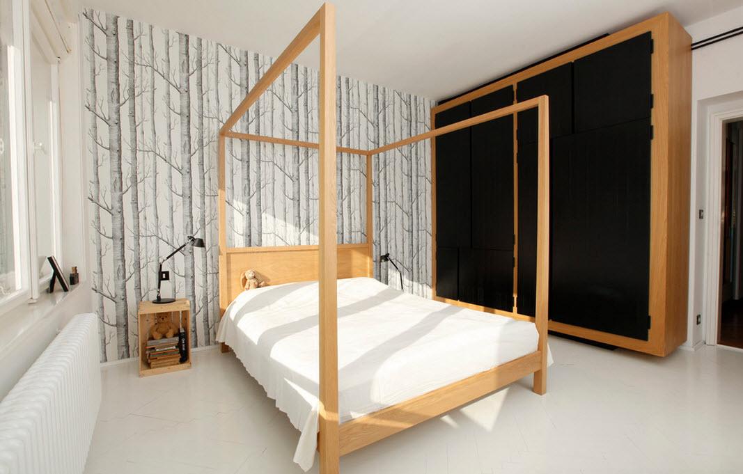 Для современного стиля характерны прямые линии и незамысловатые формы. Для шкафа в таком стиле также выбрали простое соединение цвета - черный и цвет натурального дерева