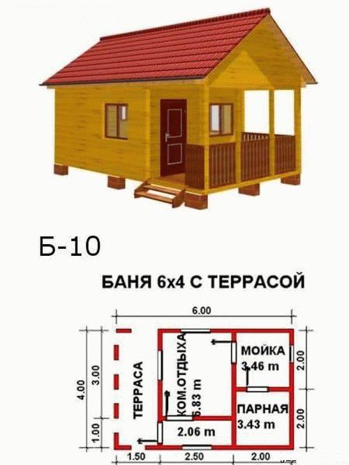 Проект бани 6х4 с террасой