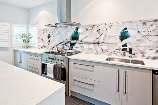 Яркие птицы на стене нежно-кремовой кухни