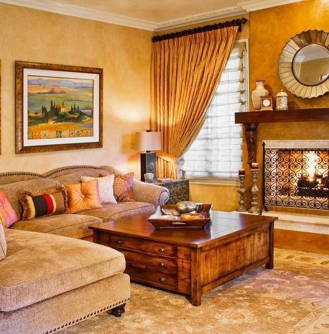 Теплая, мерцающая венецианка в интерьере гостиной создает неповторимый эффект