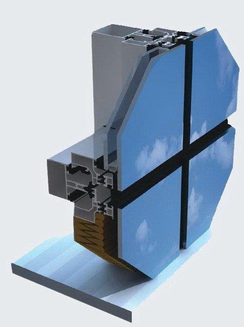 Схематичное изображение системы структурного остекления фасада