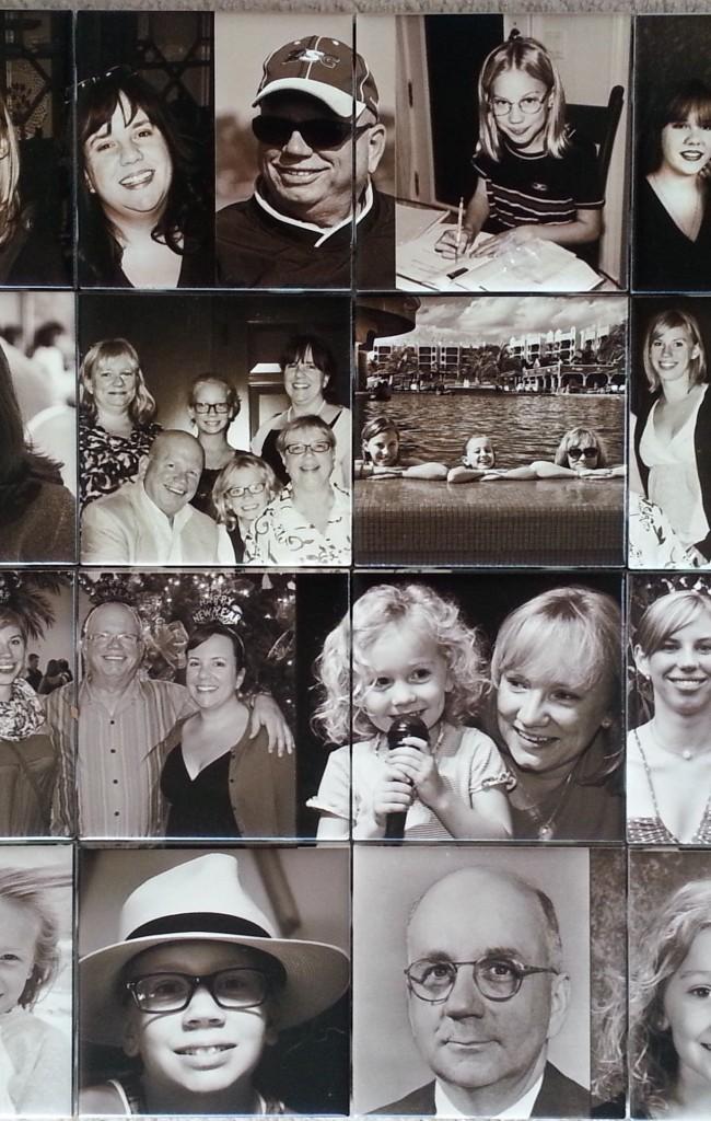 Фото-история целой семьи, напечатанная на плитке