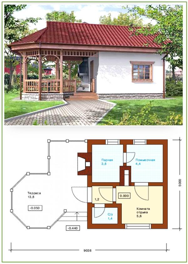 Рис. 1. Проект бани с верандой под общей крышей