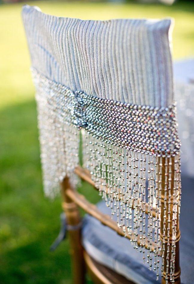 Бисер придаст чехлу на стул красоту, изысканность и оригинальность