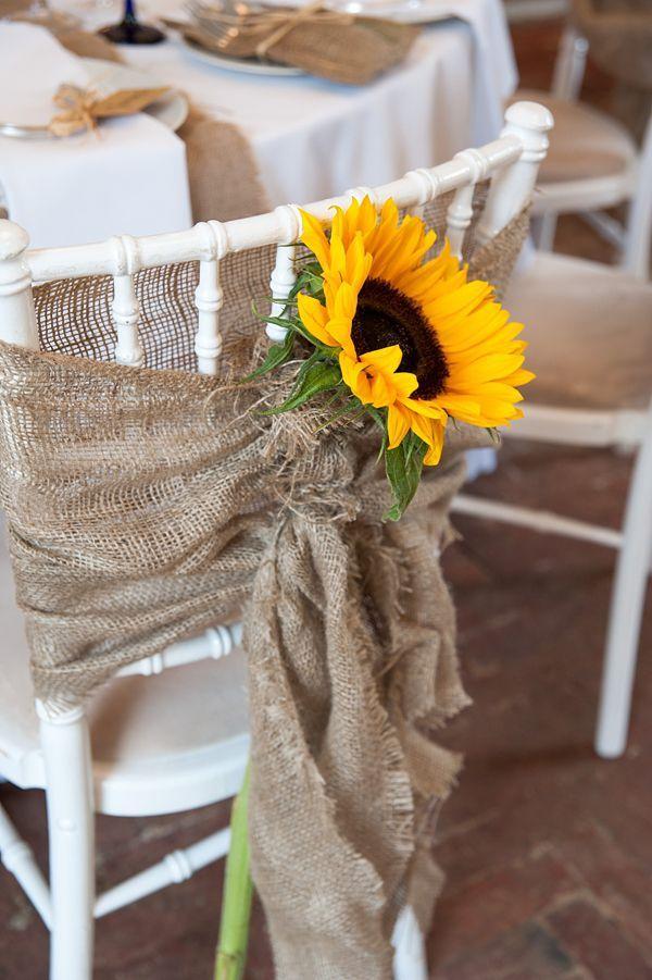 Оригинальный чехол из мешковины, украшенный цветком подсолнуха