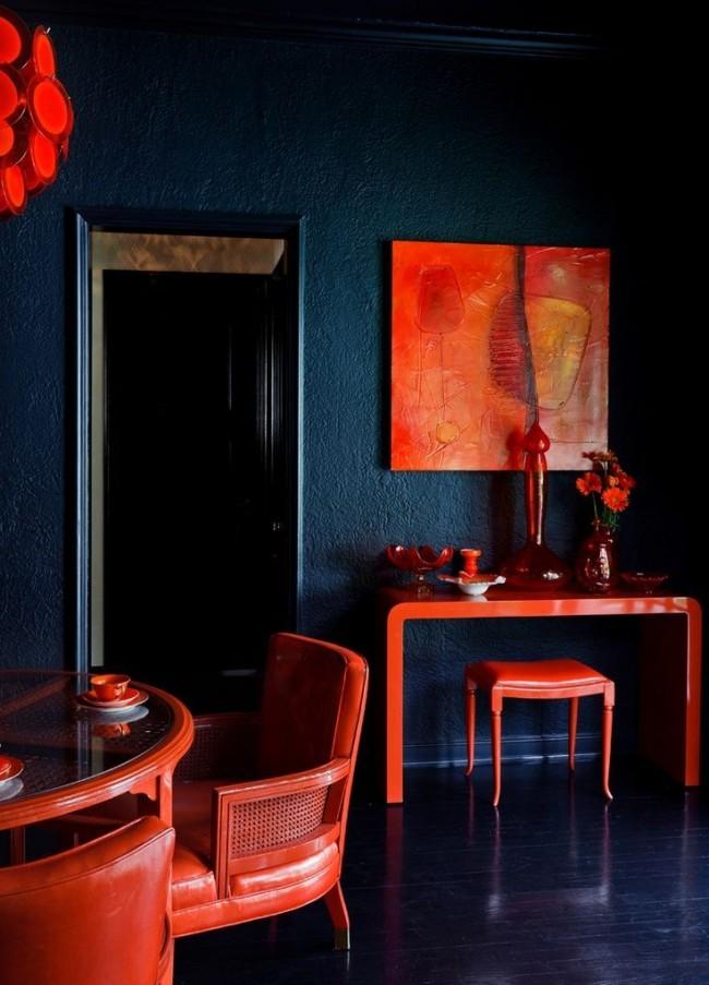 Неожиданное сочетание индиго и яркого терракотового цвета - для смелых и дерзких личностей