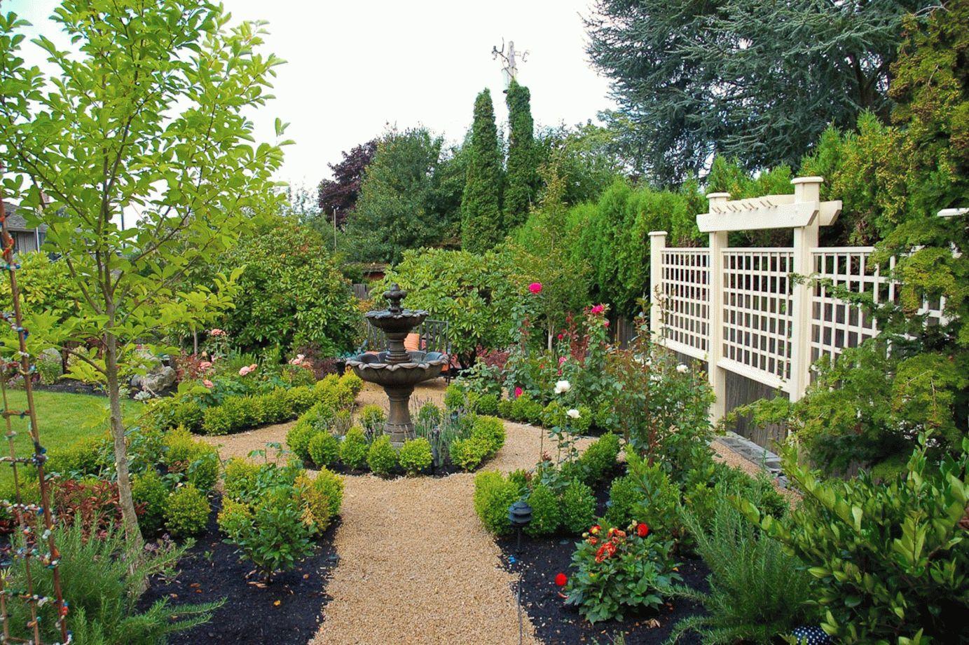 Классический фонтан в английском саду