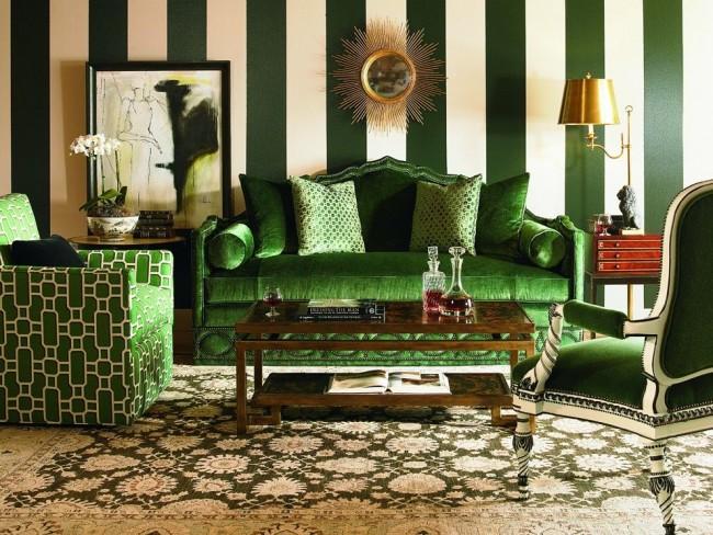 Зеленый изумрудный в интерьере