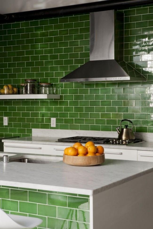 Грязно-зеленый отлично подойдет для оформления дизайна кухни. Такой необычный цвет на кухне напомнит о свежей зелени и сочных овощах