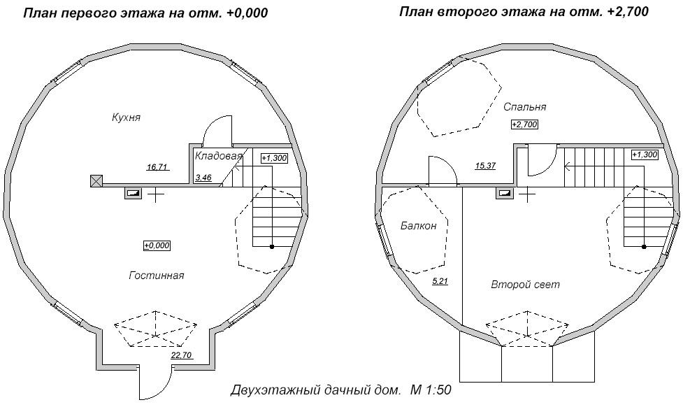 План двухэтажного дачного купольного дома