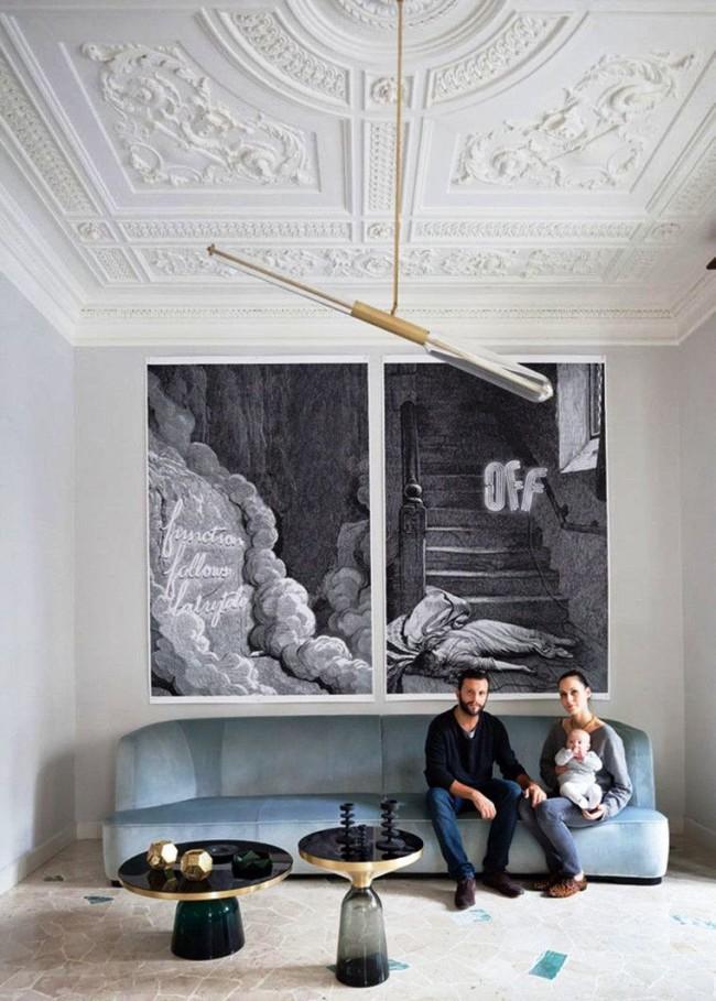 Лепнина со сложным рисунком на потолке