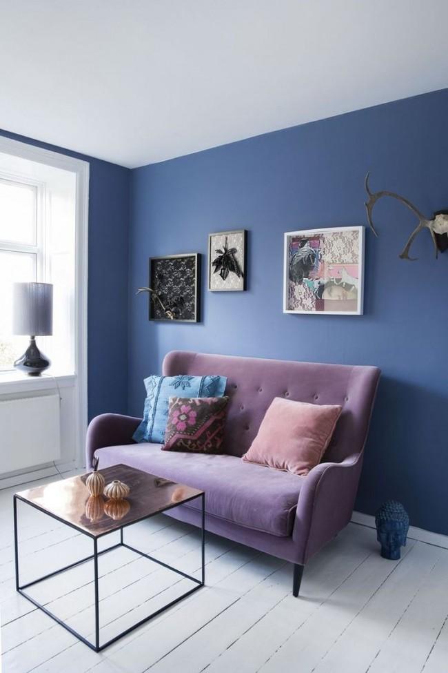 Стильный интерьер можно получить, используя аналогичную цветовую схему, т.е. сочетая лавандовый с разными оттенками фиолетового и сиреневого цветов разной насыщенности