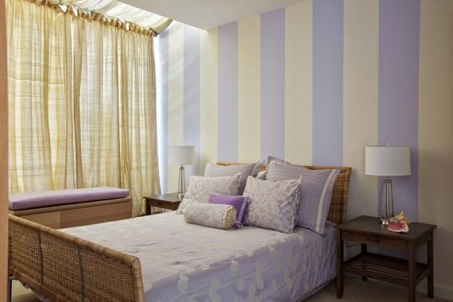 Лилово-бежевая спальня - теплый, комфортный уголок для отдыха