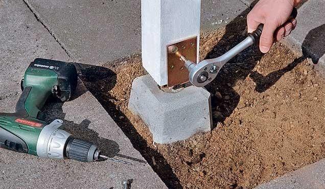 Рис. 4. Установка опор в с использованием бетонных блоков