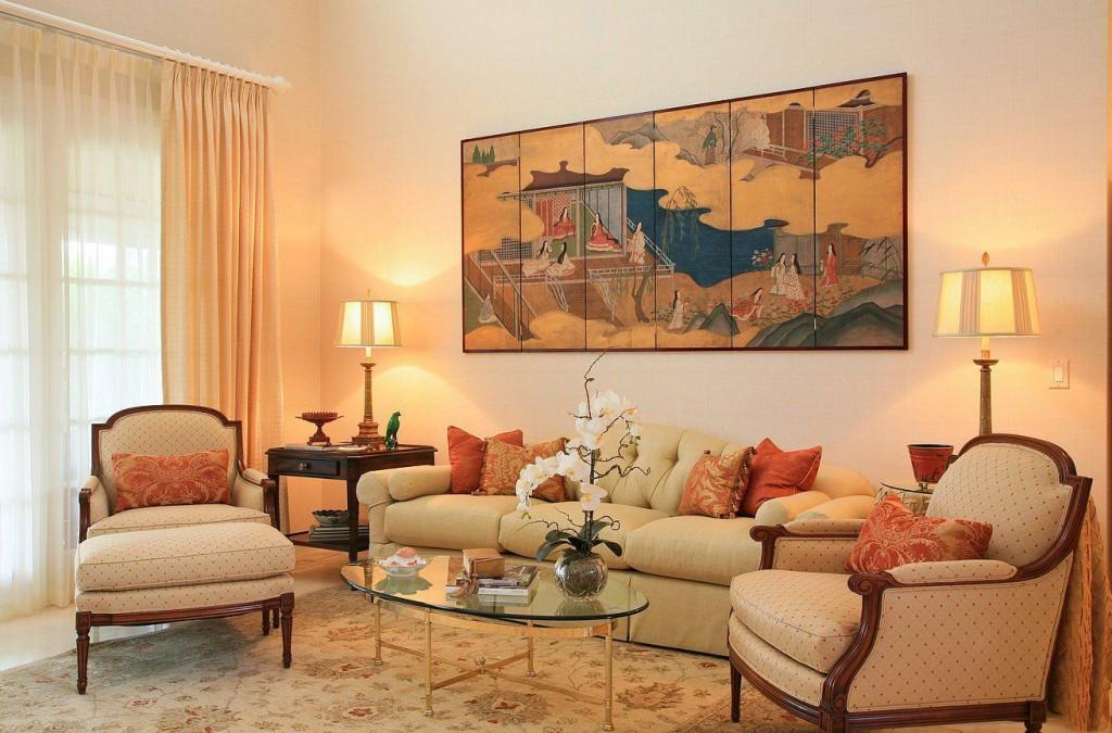Гостиная в персиковом цвете фото