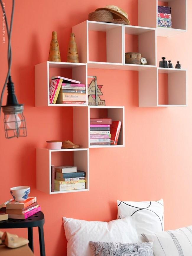 Чем насыщеннее персиковый цвет, тем теплее получается комната