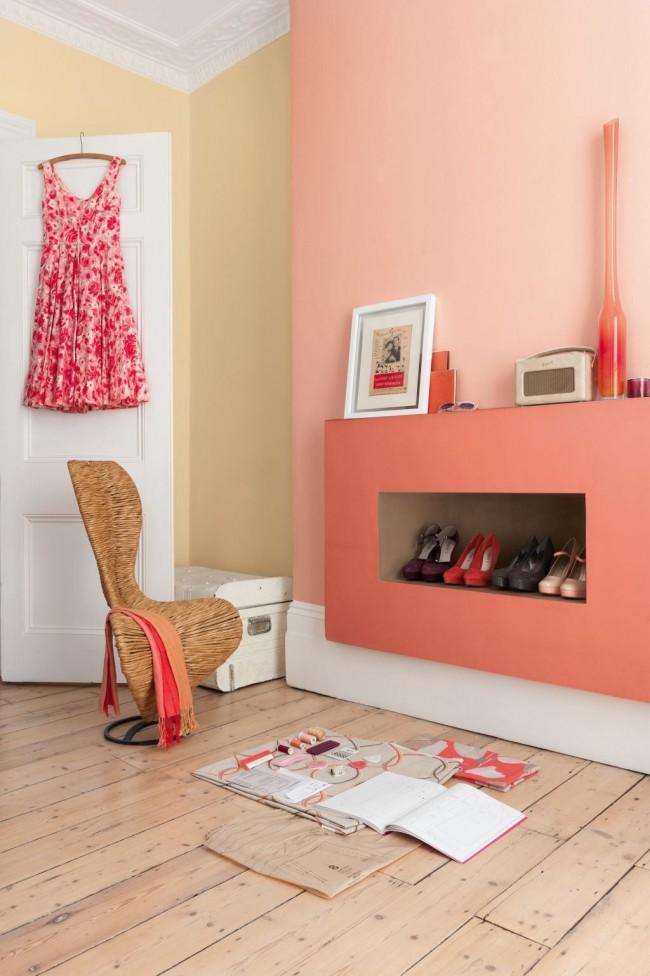 Акцентная стена розового цвета