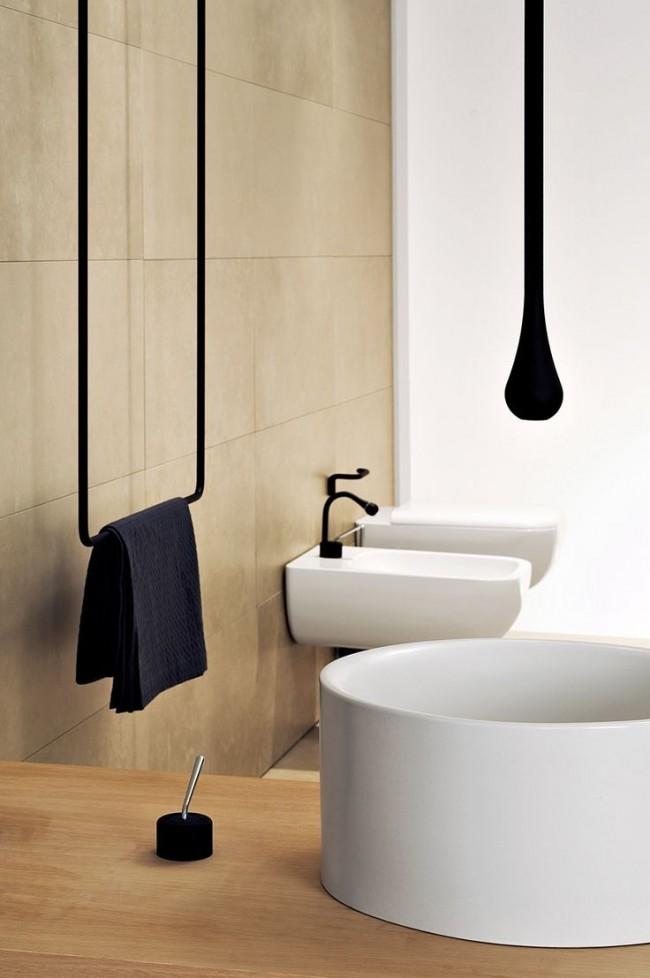 Стильный, необычный полотенцесушитель в мужской ванной комнате