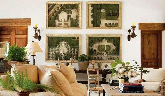 Постеры в интерьере с состаренными планами-схемами французских садов