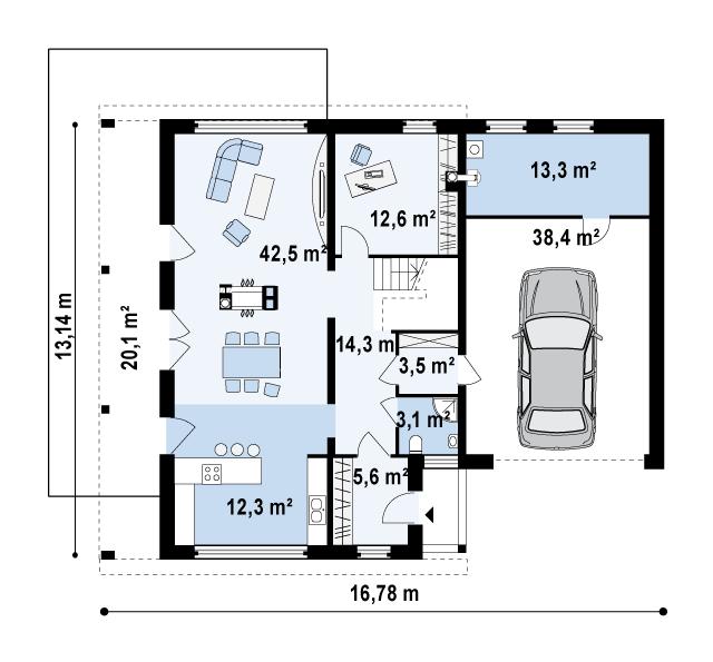Проект дома с плоской крышей № 7