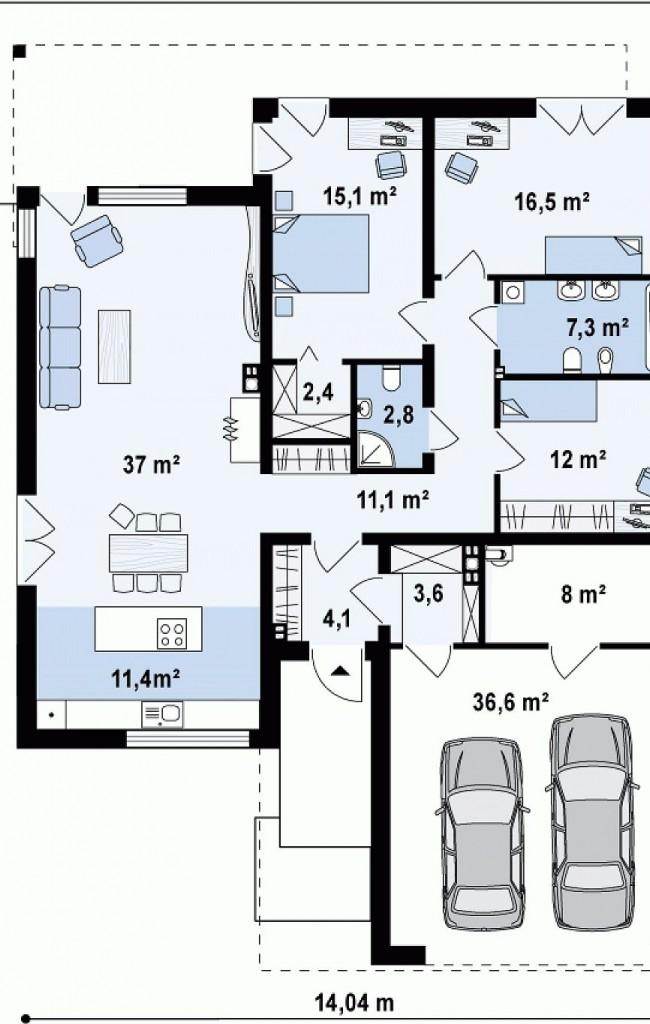 Проект дома с плоской крышей № 3
