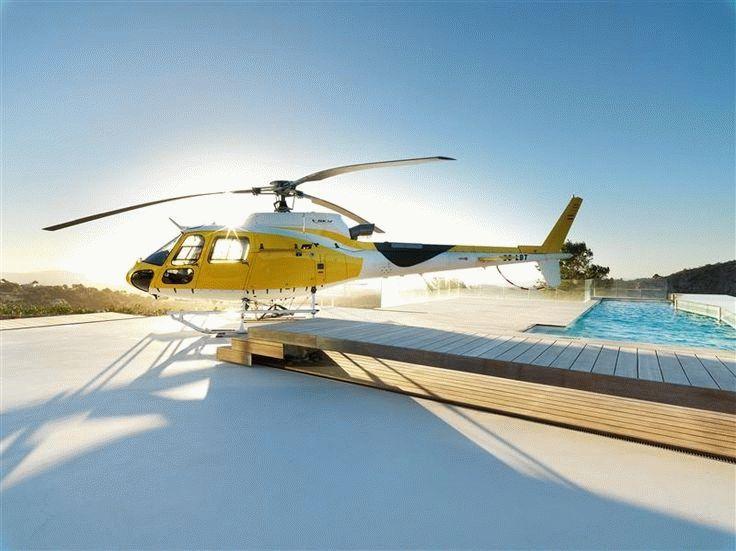 Плоская крыша с бассейном, как вертолетная площадка
