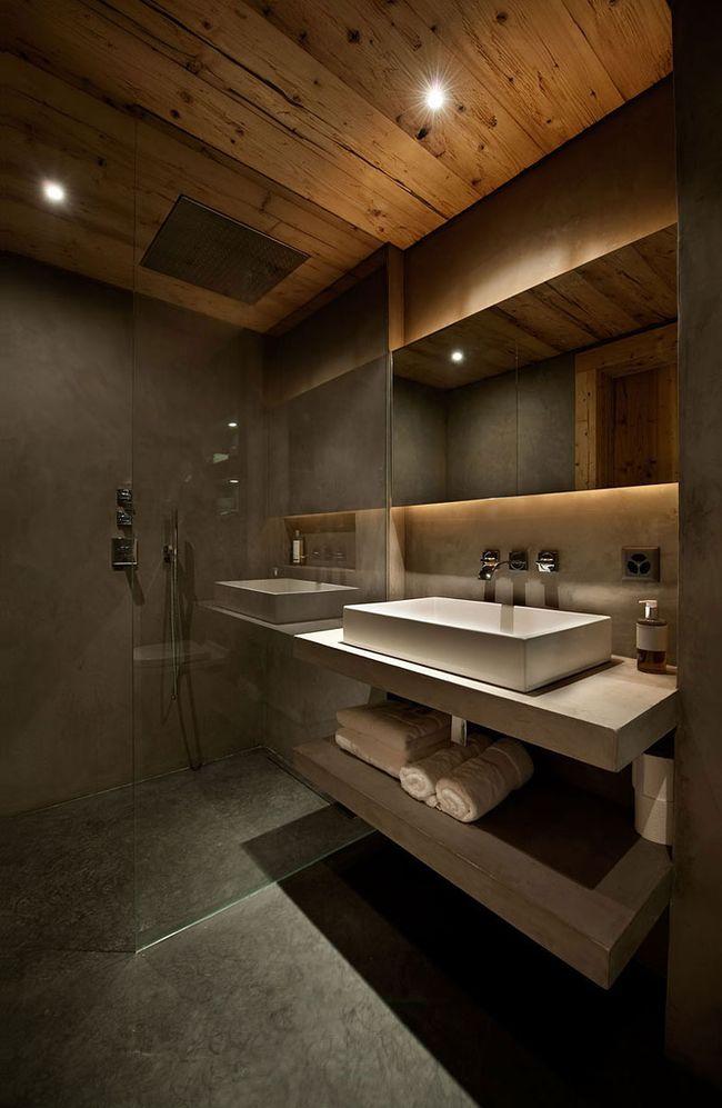 Точечные светильники красиво впишутся в интерьер ванной комнаты в стиле рустика