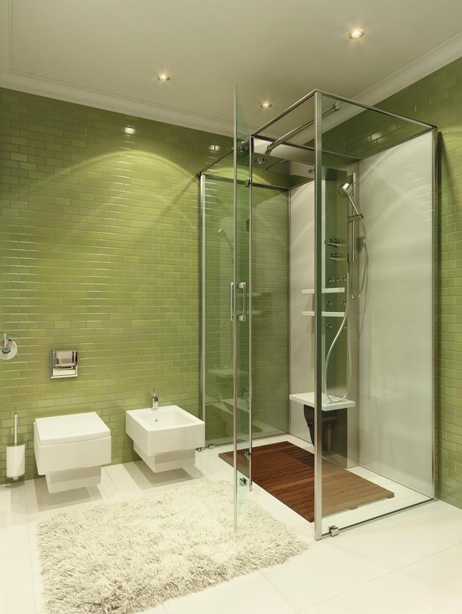 Плитка для ванной естественного фисташкового цвета, самодостаточность которого подчеркнута полным отсутствием лишних цветных акцентов