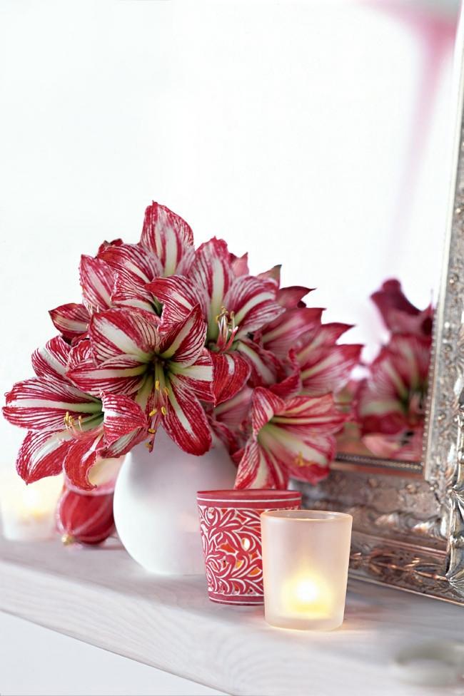 Восхитительное сочетание белого и насыщенно-розового цвета: композиция из гиппеаструмов в вазе среди декоративных свечей