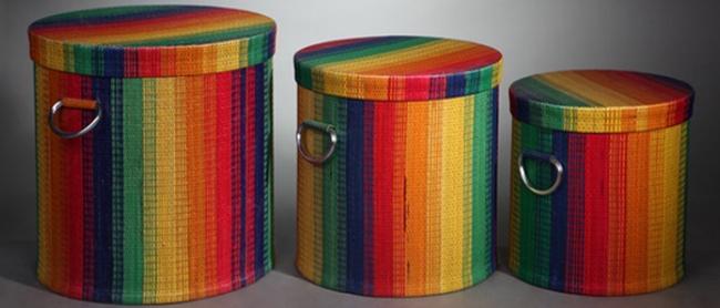 Набор радужных матерчатых корзин-коробов для белья с крышками и металлическими ручками
