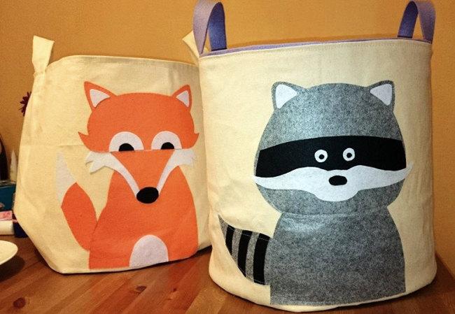 Авторские матерчатые корзинки для белья со смешными животными из фетра и шерсти