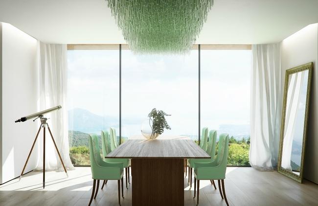 Белый и мятный цвета в минималистично оформленной столовой