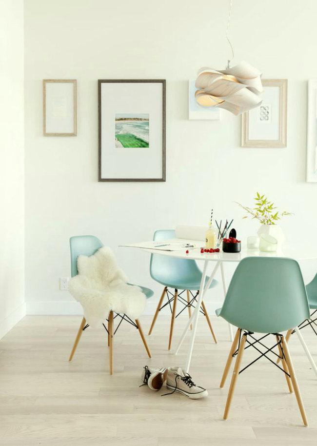 В скандинавском стиле интерьера, где натуральных материалов большинство, мятный цвет уместен как нигде более