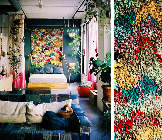 """Пэчворк в разных техниках: """"ляпочиха"""" и """"квадраты"""" в лофтовом интерьере естественно гармонирует с винтажным предметным наполнением и обилием комнатных растений"""
