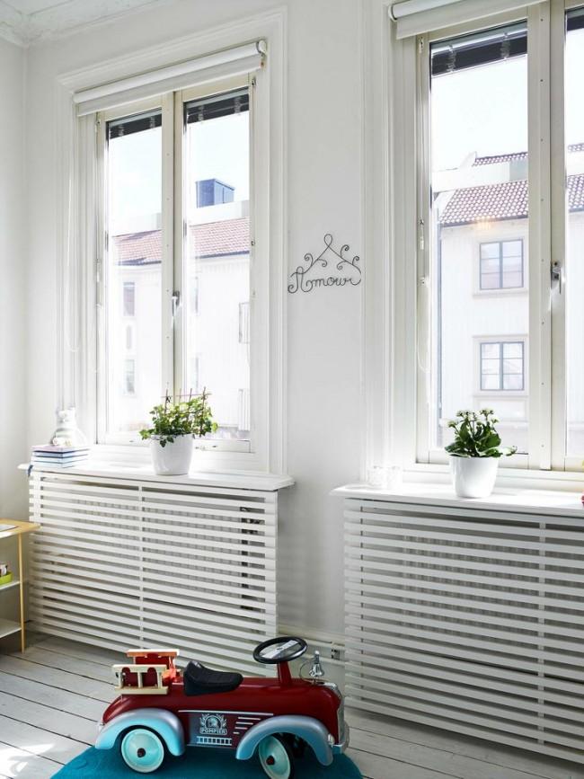 Простая и лаконичная решетка для радиатора не станет отвлекать от главной идеи интерьера
