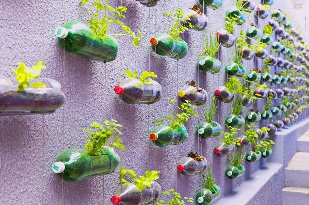 Грядки из пластиковых бутылок для сада