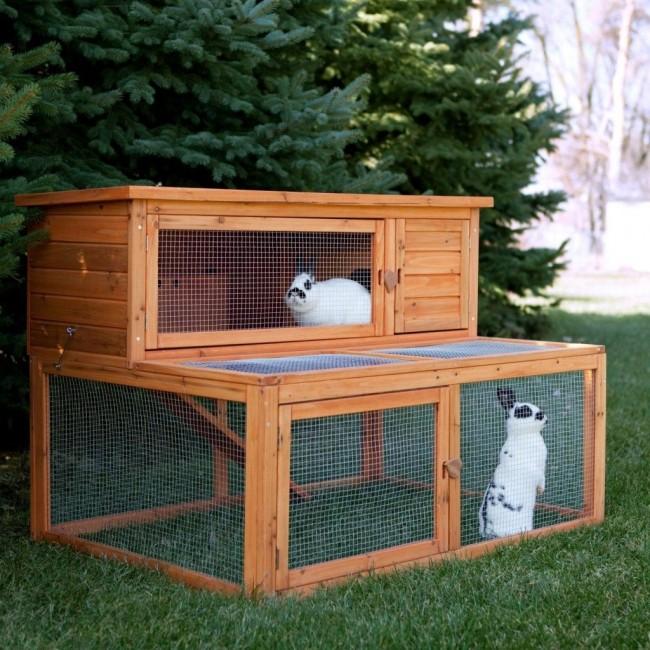 Домик для кроликов с наземным кормовым отделением
