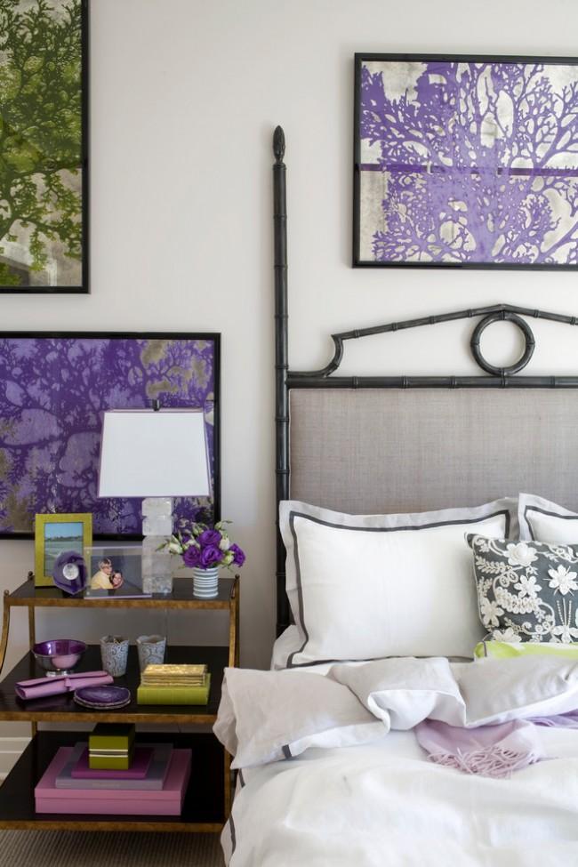 Лиловые детали в оформлении спальни