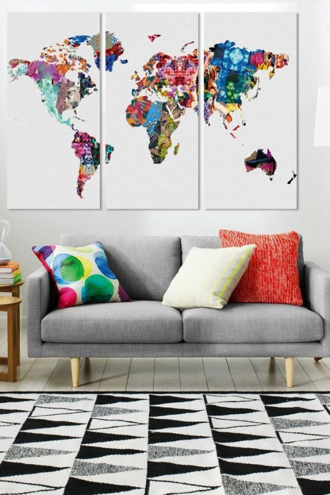 Яркая модульная картина с изображением карты мира